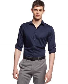 Alfani RED Slim-fit Holden Stretch Solid Shirt in navy at Macys