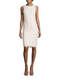 Alice   Olivia - Fey Embroidered Faux Leather Lace Dress at Saks Fifth Avenue