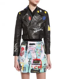 Alice + Olivia Cody Embroidered & Printed Leather Moto Jacket at Neiman Marcus