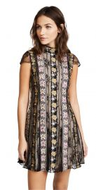 Alice Olivia Gwyneth Embroidered High Neck Short Sleeve Flare Dress at Shopbop