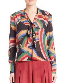 Alice   Olivia - Aisha Tie-Neck Blouse at Saks Off 5th