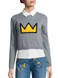 Alice   Olivia - Alice   Olivia X Basquiat Nikia Crown Layered Pullover at Saks Fifth Avenue