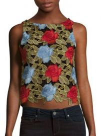 Alice   Olivia - Amal Embroidered Lace Top at Saks Off 5th