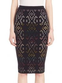 Alice   Olivia - Ani Pointelle Pencil Skirt at Saks Off 5th