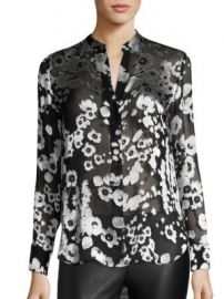 Alice   Olivia - Belle Floral Burnout Satin Tunic at Saks Fifth Avenue