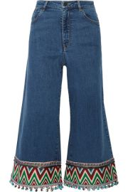 Alice   Olivia   Beta cropped embroidered high-rise wide-leg jeans at Net A Porter