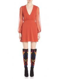 Alice   Olivia - Cary Fit-and-Flare Silk Dress at Saks Off 5th