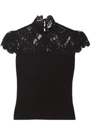 Alice   Olivia   Dandi lace-paneled stretch-jersey top at Net A Porter
