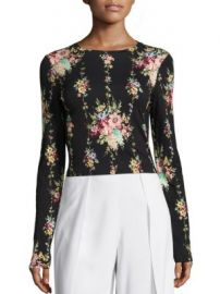 Alice   Olivia - Delaina Floral-Print Cropped Top at Saks Fifth Avenue