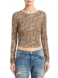 Alice   Olivia - Delaina Leopard Cropped Top at Saks Fifth Avenue