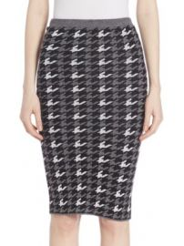 Alice   Olivia - Delphie Wool Houndstooth Skirt at Saks Off 5th