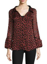 Alice   Olivia - Emmerson Heart Print Blouse at Saks Fifth Avenue