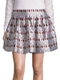 Alice   Olivia - Fizer Pleated Printed Skirt at Saks Fifth Avenue