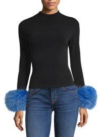 Alice   Olivia - Haylen Fur Cuff Top at Saks Fifth Avenue