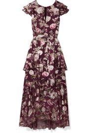 Alice   Olivia - Jenny tiered floral-print fil coup   chiffon maxi dress at Net A Porter