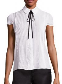 Alice   Olivia - Kelsey Pleated Tie-Neck Blouse at Saks Fifth Avenue