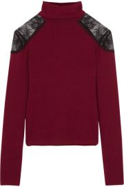 Alice   Olivia   Krystalle lace-trimmed stretch-knit turtleneck sweater at Net A Porter