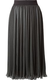 Alice   Olivia   Mikaela checked pliss  -chiffon midi skirt at Net A Porter