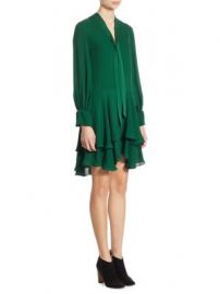Alice   Olivia - Moore Tiered Silk Tunic Dress at Saks Fifth Avenue