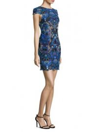 Alice   Olivia - Nakia Boat Neck Embroidered Dress at Saks Off 5th