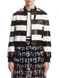 Alice   Olivia - Nixon Striped Leather Jacket at Saks Fifth Avenue