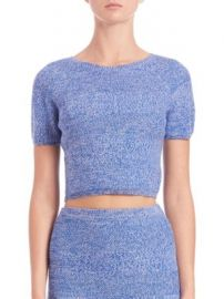 Alice   Olivia - Solange Herringbone Knit Merino Wool Crop Top at Saks Off 5th