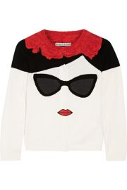 Alice   Olivia   Stace Face Frida intarsia cotton cardigan at Net A Porter
