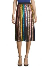 Alice   Olivia - Tianna Striped Sequin Midi Skirt at Saks Fifth Avenue