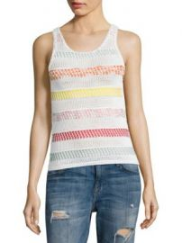 Alice   Olivia - Trinity Textured Striped Shell at Saks Off 5th