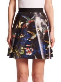 Alice   Olivia - Vernon Printed Leather Skirt at Saks Off 5th