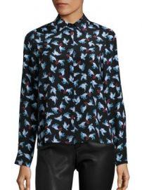 Alice   Olivia - Willa Silk Dove-Print Shirt at Saks Fifth Avenue