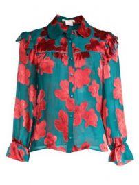 Alice   Olivia - Ziggy Ruffled Floral Shirt at Saks Fifth Avenue