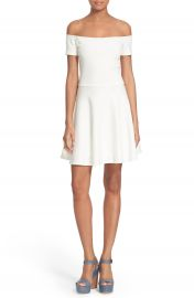 Alice   Olivia  Carisi  Off the Shoulder Fit   Flare Dress at Nordstrom