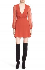 Alice   Olivia  Cary  Deep V-Neck Sheer Sleeve Fit   Flare Dress at Nordstrom