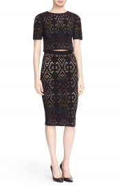 Alice   Olivia  Ines  Multicolor Pointelle Knit Crop Top at Nordstrom