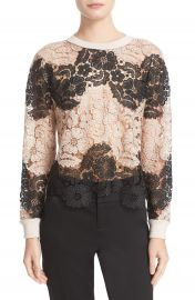 Alice   Olivia  Jesse  Lace Front Crewneck Sweater at Nordstrom