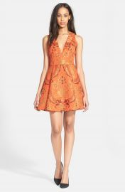Alice   Olivia  Mollie  Pleated Fit   Flair Dress at Nordstrom