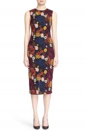 Alice   Olivia  Nat  Floral Embroidered Sleeveless Midi Length Sheath Dress at Nordstrom