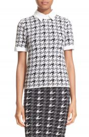 Alice   Olivia  Tara  Woven Trim Wool Blend Houndstooth Sweater at Nordstrom