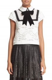 Alice   Olivia  Vanetta  Pintuck Bib Lace Shirt with Velvet Bowtie at Nordstrom