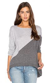 Alice   Olivia Abbie Colorblock Sweater in Charcoal  amp  Dove Grey from Revolve com at Revolve
