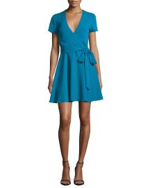 Alice   Olivia Adrianna Short-Sleeve Mock-Wrap Dress at Neiman Marcus