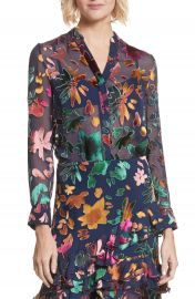 Alice   Olivia Amos Floral Burnout Velvet Tunic at Nordstrom
