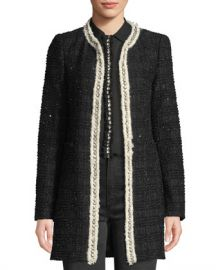 Alice   Olivia Andreas Collarless Boucle Jacket w  Crystalized Embroidery at Neiman Marcus