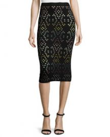 Alice   Olivia Ani Laser-Cut Multicolor Pencil Skirt at Neiman Marcus