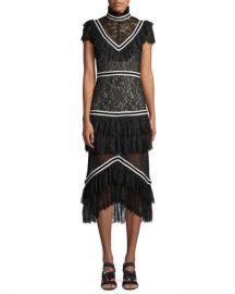Alice   Olivia Annetta Pleated Tier Ruffle Dress at Neiman Marcus