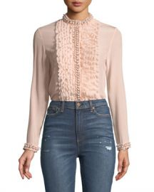 Alice   Olivia Arminda Button-Down Ruffled Chiffon Blouse w  Pearlescent Trim  Blush at Neiman Marcus