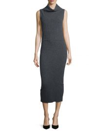 Alice   Olivia Arra Sleeveless Ribbed Turtleneck Midi Dress  Charcoal at Neiman Marcus