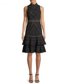 Alice   Olivia Azita Sleeveless Fit-and-Flare Tiered Lace Dress at Neiman Marcus