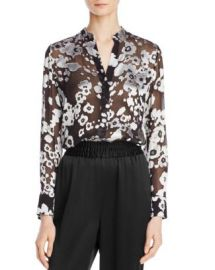 Alice   Olivia Belle Mandarin-Collar Floral-Print Blouse at Bloomingdales